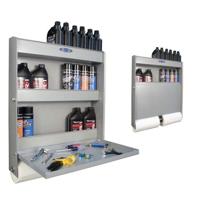 Versatile Wall Cabinet - Flip down shelf, bottle can & paper towel holder