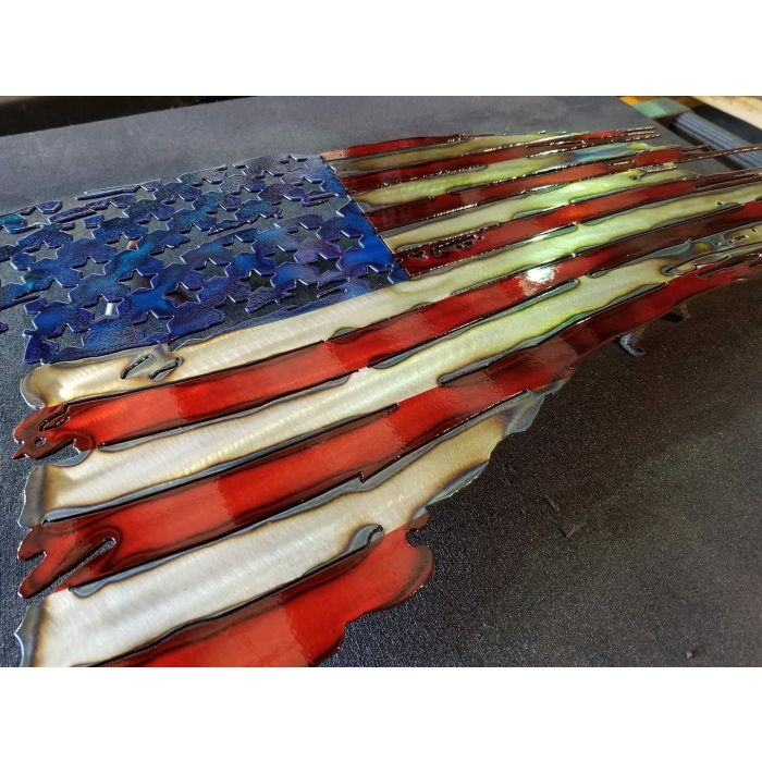 American Flag Metal Art Sign - High Quality - MADE IN USA 14 in x 24